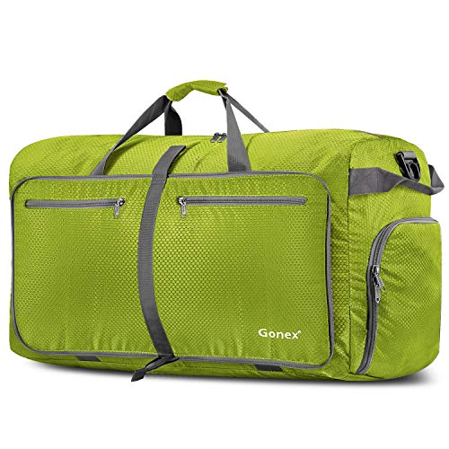 Gonex 100L Foldable Travel Duffel Bag Luggage Gym Sports, Lightweight Travel Bag Big Capacity, Water Repellent (Yellowish (Bag Water Repellent)