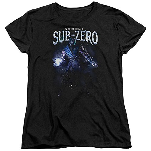 Mortal Kombat Sub-Zero Womens Short Sleeve Shirt (Black, XX-Large) (Women Of Mortal Kombat)