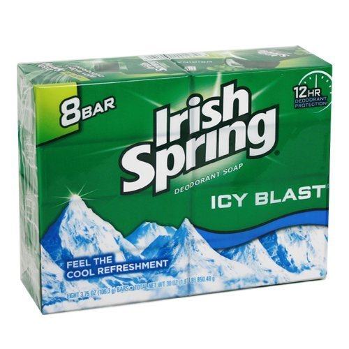 Price comparison product image Irish Spring Icy Blast Deodorant Bar Soap 3.75 oz,  8 ea (Pack of 3)