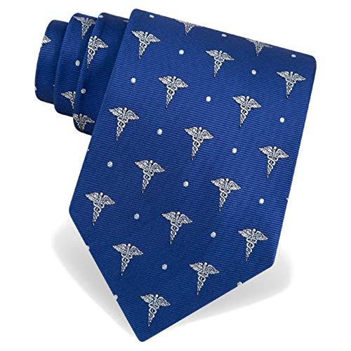 Doctors Necktie - Men's Microfiber Blue Caduceus Medical Doctor Novelty Necktie Tie Neckwear