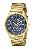 Akribos XXIV Men's AK625BU Chronograph Quartz Movement Watch with Blue Dial and Yellow Gold Stainless Steel Mesh Bracelet