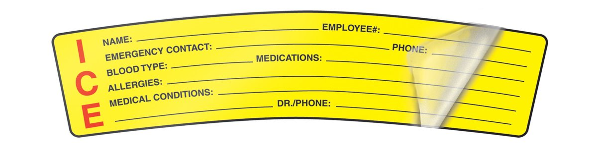 Accuform Signs LHTL251 Self-Laminating Adhesive Vinyl Hard Hat Label, 'ICE' (In Case of Emergency), 1-1/2' Length x 6' Width, Red/Black on Yellow (Pack of 5) ICE (In Case of Emergency) 1-1/2 Length x 6 Width