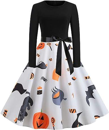 CLOOM Vestido De Calabaza De Halloween para Mujer Sexy&Elegante ...