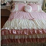 Lotus Karen Dark Pink Cute Bow-knots Ruffles Korean Bedding Set For Girls Bedding Twin Home Textile Pleated 4PC Cotton Duvet Cover Set,1Duvet Cover,1Bedskirt,2Pillowcases King