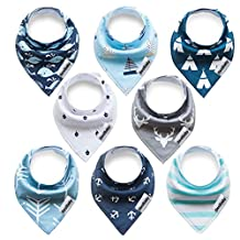Baby Bandana Bibs Baby Gift Set Unisex Baby Drool Bibs 8 Packs Super Absorbent Cotton Bibs w/Snap for Girls and Boys