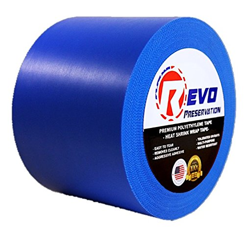 "REVO Preservation Tape / Heat Shrink Wrap Tape (4"" x 60 yards) MADE IN USA (BLUE) Poly Tape - Electrical Tape - Boat Winterizing Tape (PINKED EDGE) SINGLE ROLL (HEAVY DUTY: 9 MIL THICKNESS)"