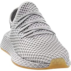 With an allover stretchable web layer, the Adidas Deerupt Runner has a bold design. Plus, they also feature a reversed sandwich mesh upper, suede heel patch, zoned cushioning, and a rubber outsole.
