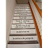 Ten Commandments Stair Riser Decals, Stair Decals, 10 Commandments-Conversational Decals, Inspiration Quotes, Stair Stickers, Wall Decals