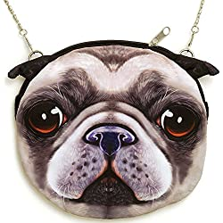 Bits and Pieces - Adorable Pug Face Purse - Puppy Handbag - Dog Tote Bag