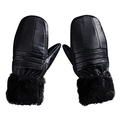 ByTheR Mens Winter Driving Daily Sheepskin Faux Fur Warm Black Gloves Mitten