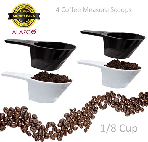 ALAZCO 4 pc COFFEE MEASURING SCOOP 1/8 CUP - Make The Perfect Pot Of Coffee Right At Home ...