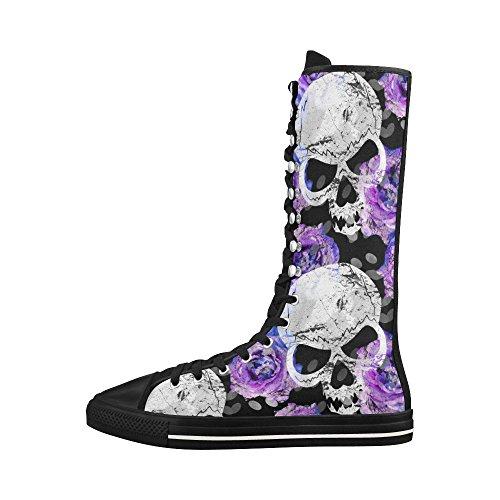 D-story Skull Rose Lace Up Scarpe Da Ginnastica Alte Scarpe Da Ginnastica Lunghe Punk Ballerine Per Donna