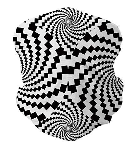 TUONROAD Unisex 3D Animal Print Custom Headwear Head Wrap Monochrome Black White Swirl Geometric Magic Headband Tubular Multipurpose Festival Neck Bandana for Biker Motor Yoga Workout Outdoor Sports