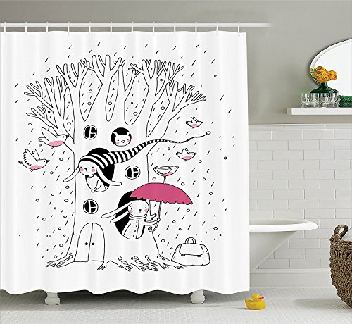 [Magic Home Decor Shower Curtain Set Minimalist Habitat Drawing with Rabbits Tree Hole Houses in A Rainy Day Hollow Design Bathroom Accessories White] (Costume Design For Rabbit Hole)