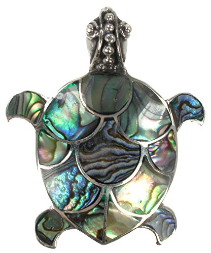 925 Antiqued Sterling Silver Paua Shell Inlay Sea Turtle Convertible Pendant to Brooch (Pin)