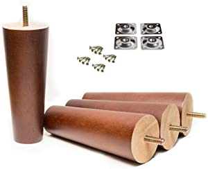 """Maricome 6 Inch Wood Furniture Legs Replacement Cabinet Couch Chair Sofa Legs Walnut Finished 5/16"""" Bolt - Set of 4"""