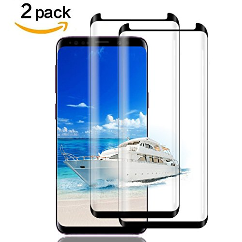 Galaxy S9 Plus Screen Protector Glass, (2-PACK-BLACK)3D Curved Dot Matrix Full Screen Samsung Galaxy S9 PLUS Tempered Glass Screen Protector (6.2'')2018 with Easy Application (NOT S9)(Case Friendly) by my-handy-design