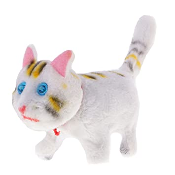 Amazon.com: MonkeyJack White Walking Sounding Tail Wagging Kitten Cat Battery Operated Toys Gifts: Toys & Games