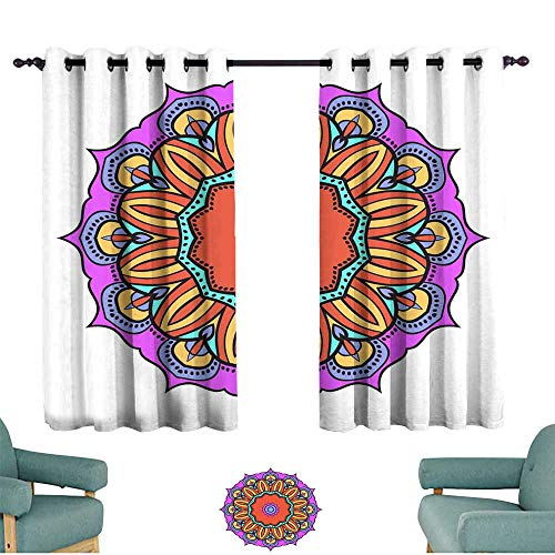 Warm Family Durable Curtain Flower Mandala Printable Package Decorative Elements Coloring Page Template It is Vector Illustrations 70%-80% Light Shading, 2 Panels, ()