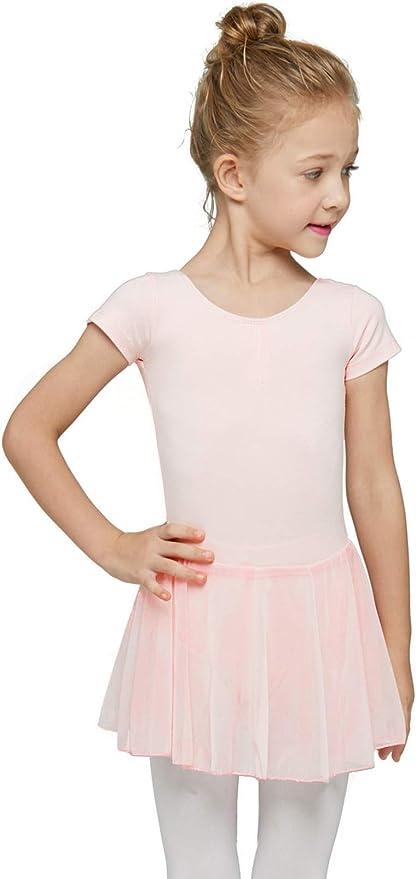 MAGIC CONCH Girls Short Sleeve Leotard with Skirt Kids Dance Ballet Tutu Dresses for Toddler,Little Girl,Big Girl