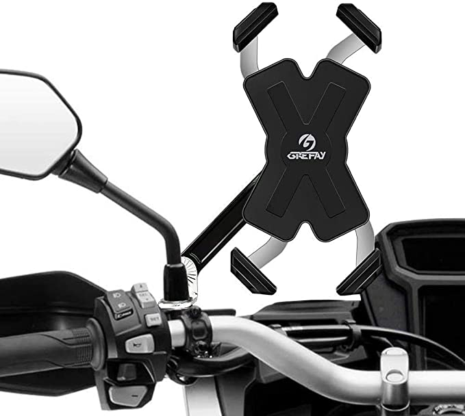 Grefay Motorrad Handyhalterung Edelstahl Automatisches Schrumpfen Smartphone Halterung Für Motorrad Rückspiegel Mit 360 Drehbare Für 4 5 7 0 Zoll Smartphone Navigation