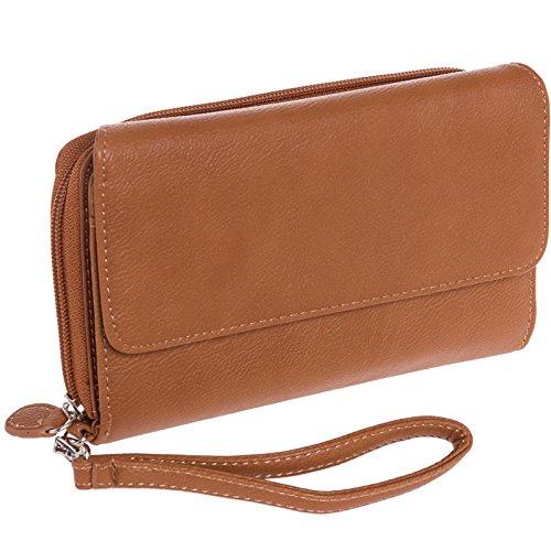 MUNDI Big Fat Womens RFID Blocking Wallet Clutch Organizer Removable Wristlet