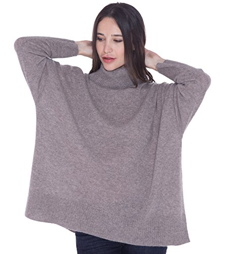 cashmere 4 U 100% Cashmere Turtleneck Oversize Sweater Pullover For Women by cashmere 4 U
