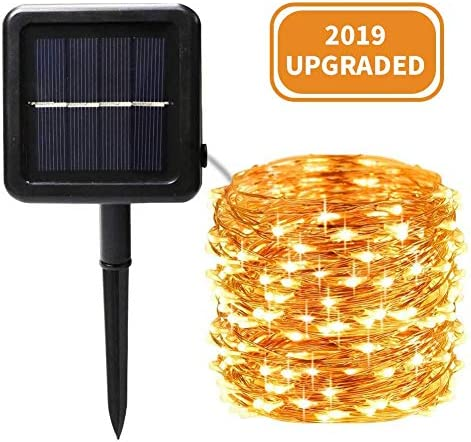 Ankway Solar String Lights Outdoor, 200LED Solar Powered String Lights IP65 Waterproof Copper Wire 8 Modes Fairy Lights for Garden Fence Yard Patio Party Decor Christmas Warm White