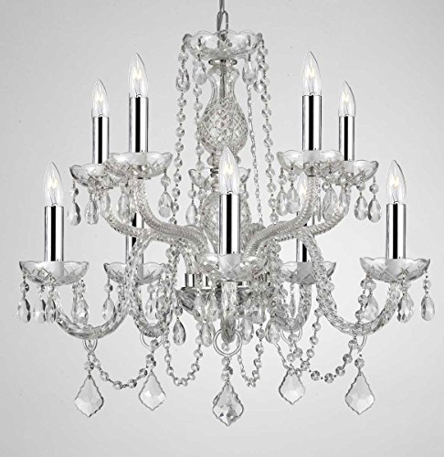 Empress Crystal (Tm) Chandelier Lighting Crystal Chandeliers with Chrome Sleeves H25″ X W24″ 10 Lights! Swag Plug In-chandelier w/ 14′ Feet of Hanging Chain and Wire!