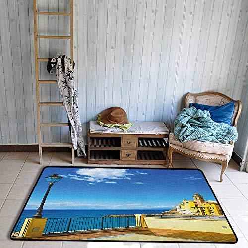Outdoor Patio Rug,Italian Camogli Building Sea Lamp and Balcony Tourist Spot in Ligury Italy Print,Anti-Slip Doormat Footpad Machine Washable,3'3