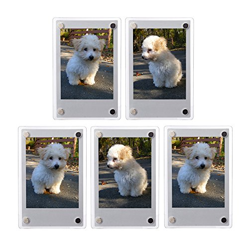 FoRapid 5 PCS 3-inch 2-Sided Clear Acrylic Refrigerator Magnetic Photo Frame-Elegant Frameless Display Fujifilm Instax Mini 9 8 8+ 70 7s 90 25 26 50s Film/Cards/Memos/HP pocket Photo Paper/2x3 ()