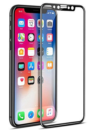 AKDibl Screen Protector Full Coverage Tempered Glass Screen Protector Film Edge to Edge Protection with Brightness 4D Touch 9H Hardness for iPhoneX (Black)