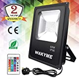 Flood Light, WAKYME 60W 96 LED Floodlight RGB Garden Light with Remote Control, 16 Colors 8 Modes Dimmable Super Bright Security Floodlight Outdoor Lighting Stage Landscape Lighting with Pl