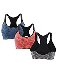 CLOUSPO 1 or 3 Pack Seamless Sports Bra Racerback with Removable Pads for Women