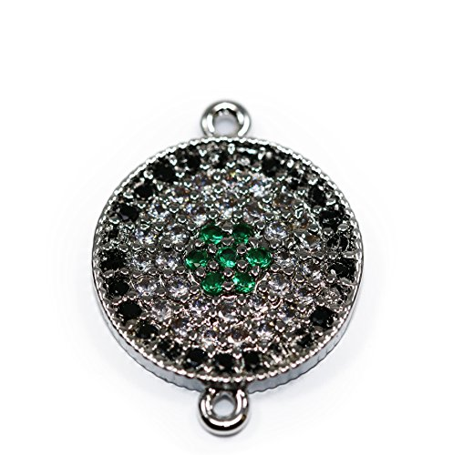 Lovely Bead Microfiber Pave Silver Connector With Black, Green and Clear CZ Rhinestones(14 mm) Microfiber Rhinestone