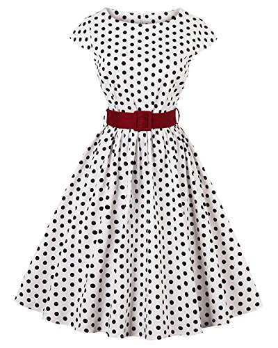 ZAFUL Women 1950s Vintage Polka Dot Cap Sleeve Square-Cut Collar Swing Party Dress with Belt(Polka Dot,4XL) -