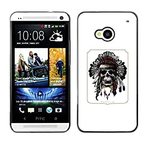 A-type Colorful Printed Hard Protective Back Case Cover Shell Skin for HTC One M7 ( Indian Feather Headdress Native American )