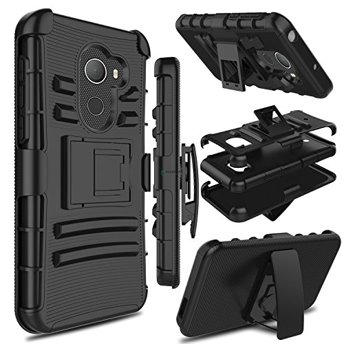 Alcatel A30 Fierce 2017 Phone Case 5.5 Inch, not Tablet Case 8 Inch, Zenic Heavy Duty Shockproof Full-Body Protective Case with Swivel Belt Clip and Kickstand for Alcatel A30 Plus(Black)