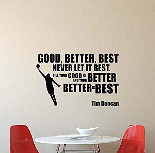 Good Better Best Never Let It Rest Tim Duncan Wall Decal NBA Basketball Quote Inspirational Sayings Lettering Vinyl Sticker Motivational Gift Gym Decor Art Poster Mural SW 566 -