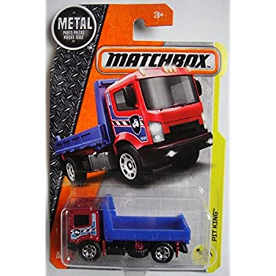 Matchbox 2020 MBX Construction Pit King (Flat Bed Truck) 81/125, Red and Blue: Toys & Games