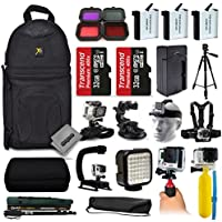 Opteka 3x Batteries + Filters + 64GB Memory + Handgrip + Case + Monopod + Chest Strap + Head Strap + Tripod + Floating Bobber + More For GoPro Hero4 Cameras
