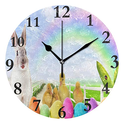 Ladninag Wall Clock Easter Bunny Duck Eggs Wallpaper, used for sale  Delivered anywhere in USA