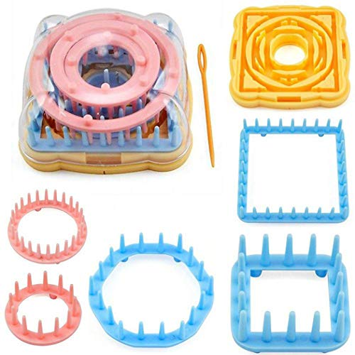 Outgeek Knitting Loom Set, Round Knitting Looms 9PCS Assorted Flower Daisy Pattern Maker DIY Crafts Needle