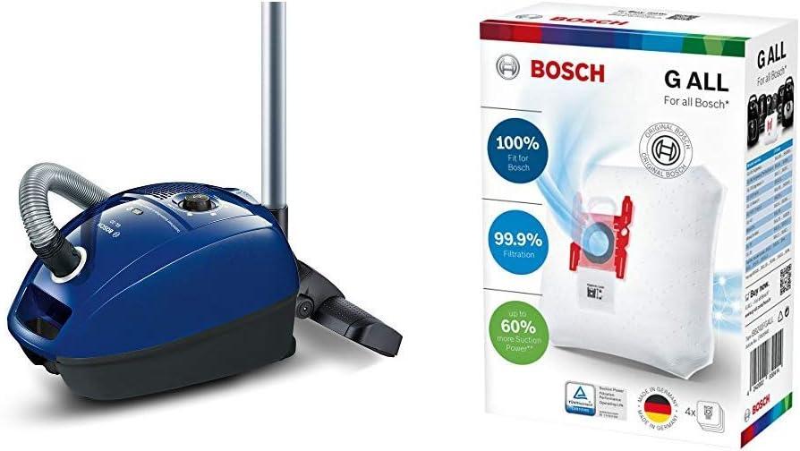 Bosch GL-30 Aspirador con bolsa compacto, sistema powerprotect, 600 W, 4 litros, 79 Decibelios, Azul + Megaair SuperTex BBZ41FGALL - Bolsas para aspiradora, tipo G ALL: Amazon.es: Hogar