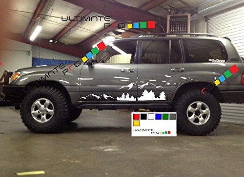 Toyota Land Cruiser Winch (2x Mountains Decal sticker kit compatible with Toyota Land Cruiser)