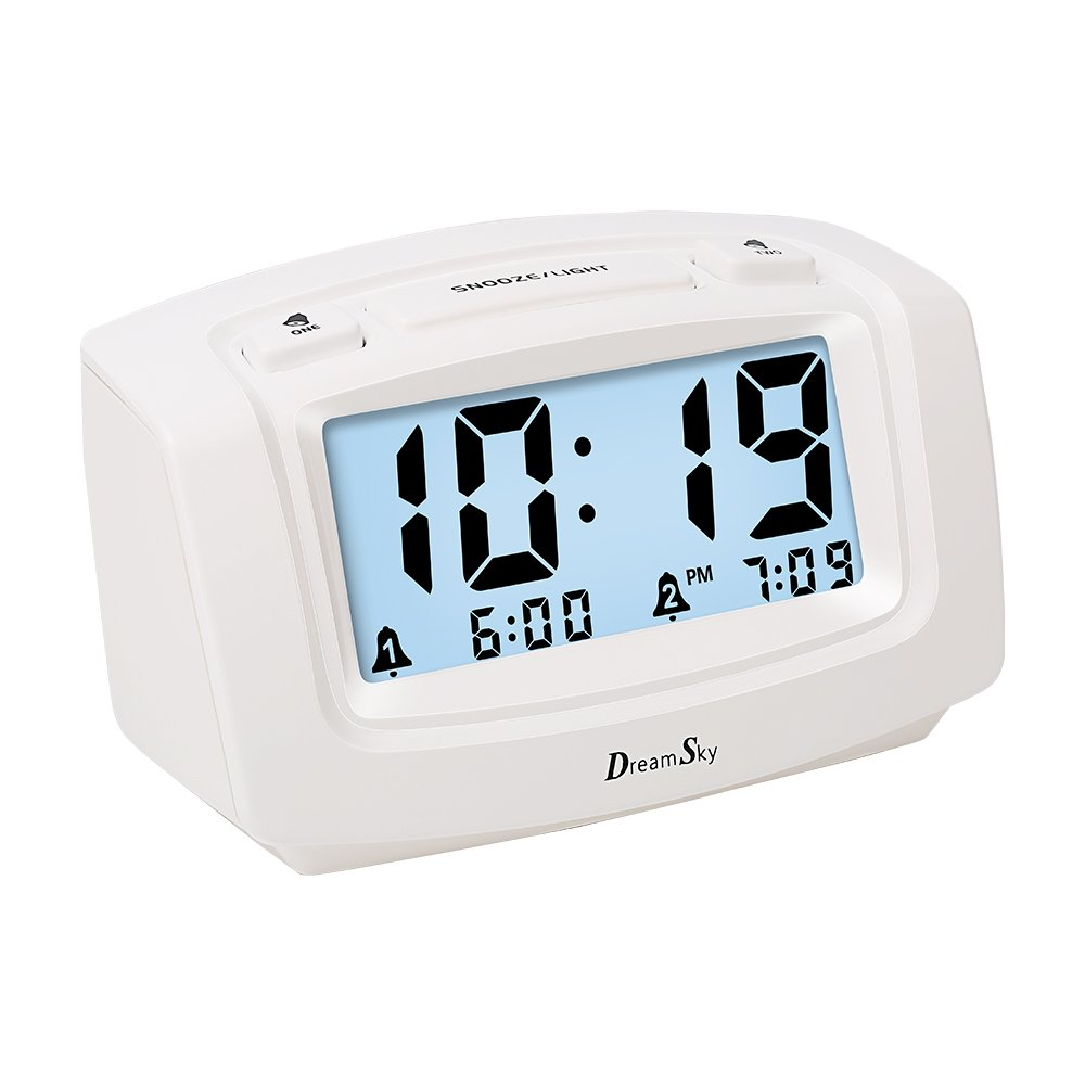 DreamSky Dual Alarm Clock with Smart Adjustable Nightlight, Snooze, Large LCD Display, Portable Battery Operated, Ascending Alarms Sound, Simple Operate Clock for Bedroom Kids by DreamSky (Image #1)