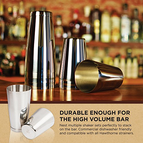 Stainless Steel Boston Shaker: 2-piece Set: 18oz Unweighted & 28oz Weighted Professional Bartender Cocktail Shaker by Top Shelf Bar Supply (Image #5)