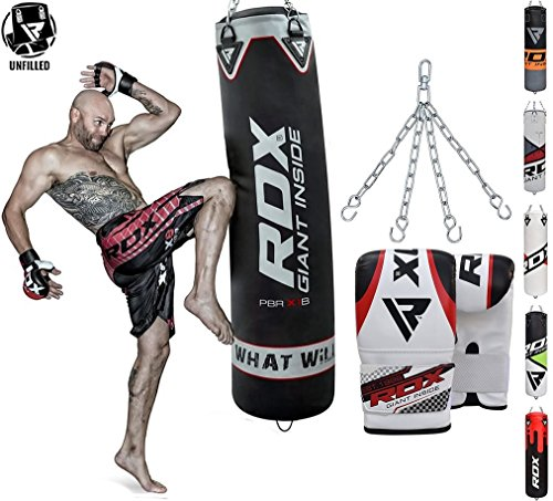 - RDX Punching Bag UNFILLED Set Kick Boxing Heavy MMA Training with Gloves Punching Mitts Hanging Chain Ceiling Hook Muay Thai Martial Arts 4FT 5FT