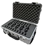 Pelican Colors Series - Silver & Black 1510-5 Pistol Carry case with Wheels. with Custom Foam Insert.