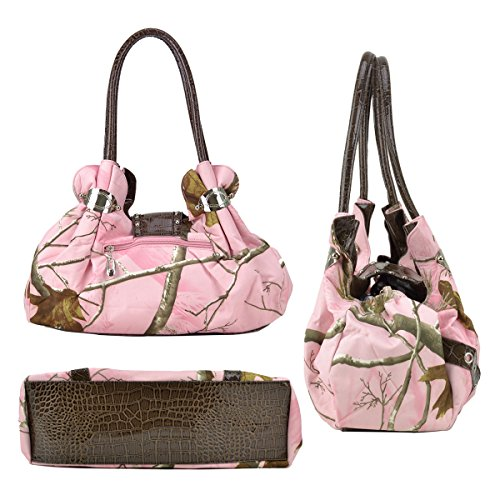 in Camo Trim with Rt13250 Handbag W Purse Rhinestone Croco Camouflage Camo Fabric Shoulder Black Bag Studded Realtree Dasein Green dtqHt